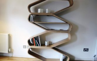 impressive zig zag free standing bookshelves made of walnut teaturing wooden flooring ideas and white painted wall