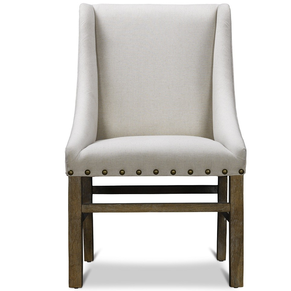 White upholstered dining chair displaying infinite for White chair