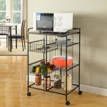 industrial classic black iron and wire kitchen cart with wheels design with open storage