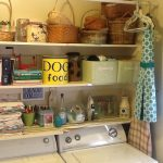 inspiring laundry room shelf ideas with wooden shelves and metal hanging rods together with pretty baskets