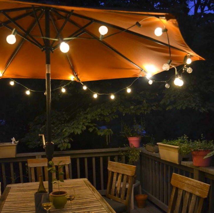 Lighted Patio Umbrella For Terrace With Wonderful Light Fixture And Wooden  Table Plus Chairs