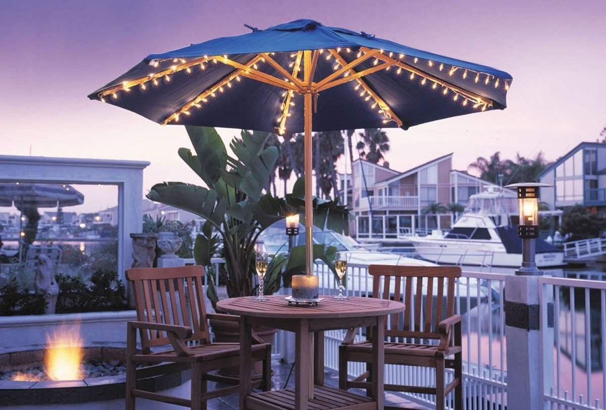 Merveilleux Lighted Patio Umbrella Together With Table And Chairs For Patio Ideas
