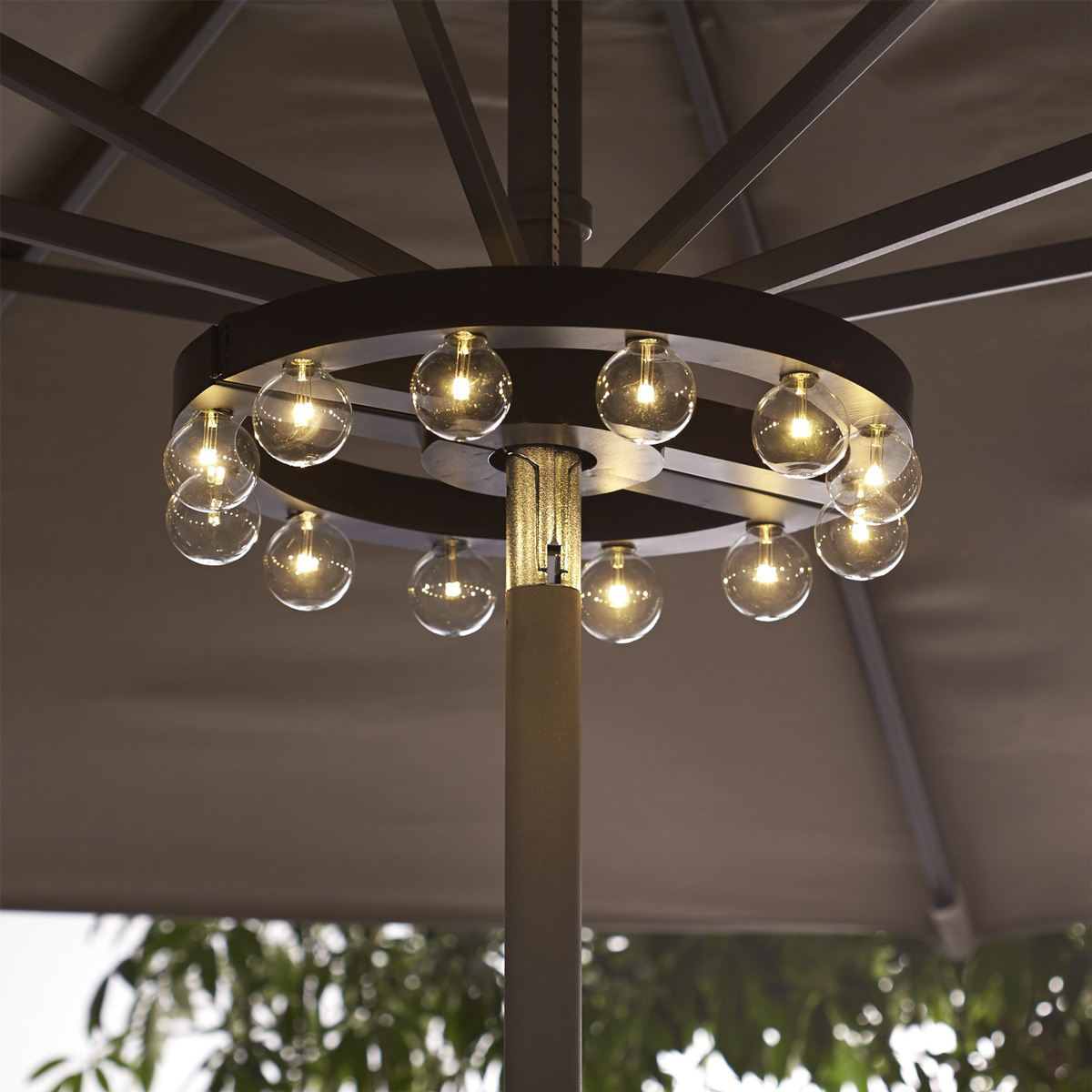 Nice Lighted Patio Umbrella With Stunning Bulb For Creating Romantic Nuance