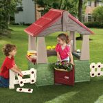 little tikes playhouse design with cute white fence