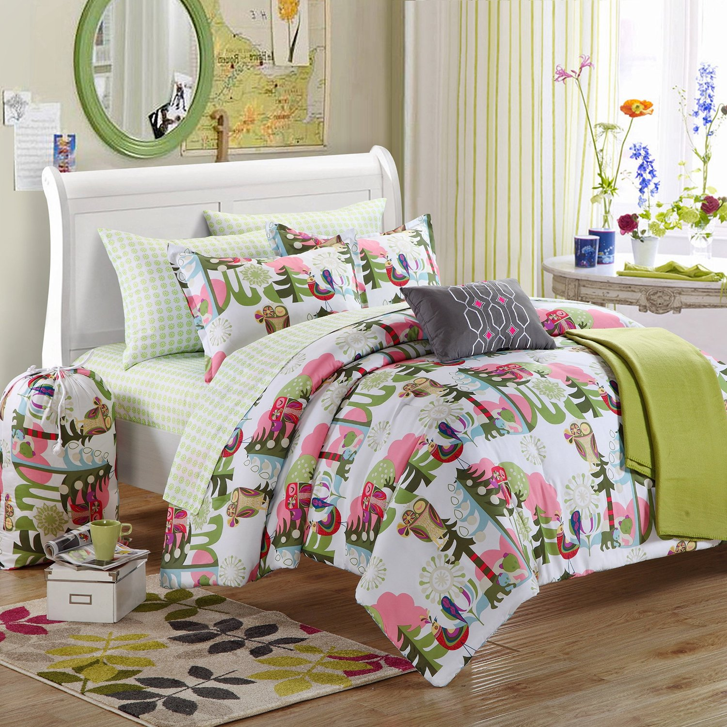 Livable Bedroom Design With Cheerful Decoration And White Pink Green Owl  Bedding Sheet And Wooden Floor