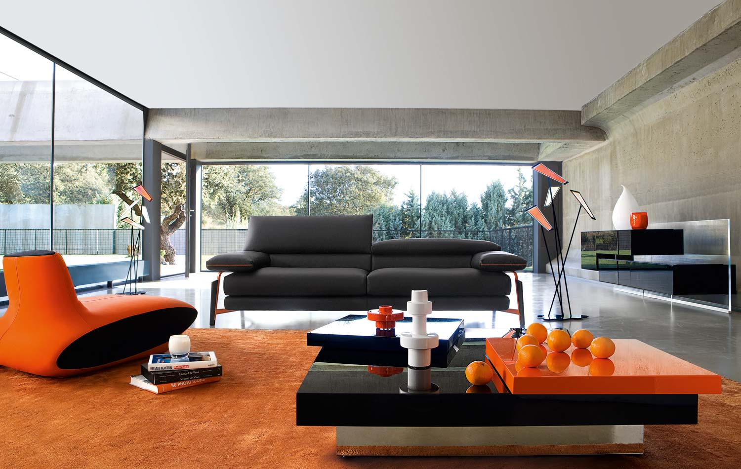 orange living room furniture. Livable Modern Living Room Design With Gray Sofa And Orange Couch Coffee Tbale Furniture T