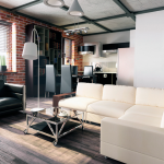 loft interior design for living room with luxurious white sofa and black arm chair and floor lamp and red brick wall and white siding and glass window