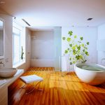 lovable and playful japanese bathroom design with luxurious white bathtub and wooden floor and white bench and creamy vanity and open plan