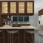 lovable brown kitchen cabinet planner idea design with white top and metal stools and glass door storage