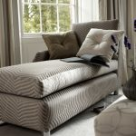 Lovable Gray Small Chaise Lounge Design With Stripe Pattern And Tufted Cushions Beneath Glass Wall