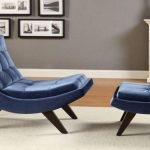 Lovable Navy Blue Small Chaise Lounge Design With First Month Moon Shape And Adorable Small Coffee Table