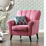 lovable pink accent chair design with backrest and patterned cushion and mirror and unique wallpaper