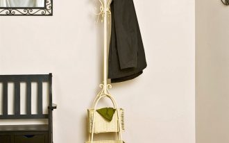 lovable vintage white standing coat rack idea with rattan storage on creamy area rug aside black wooden bench