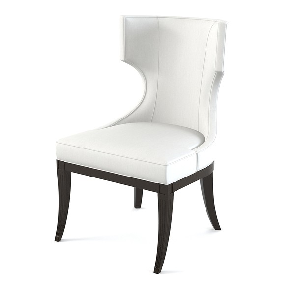 White upholstered dining chair displaying infinite for Upholstered dining chairs contemporary