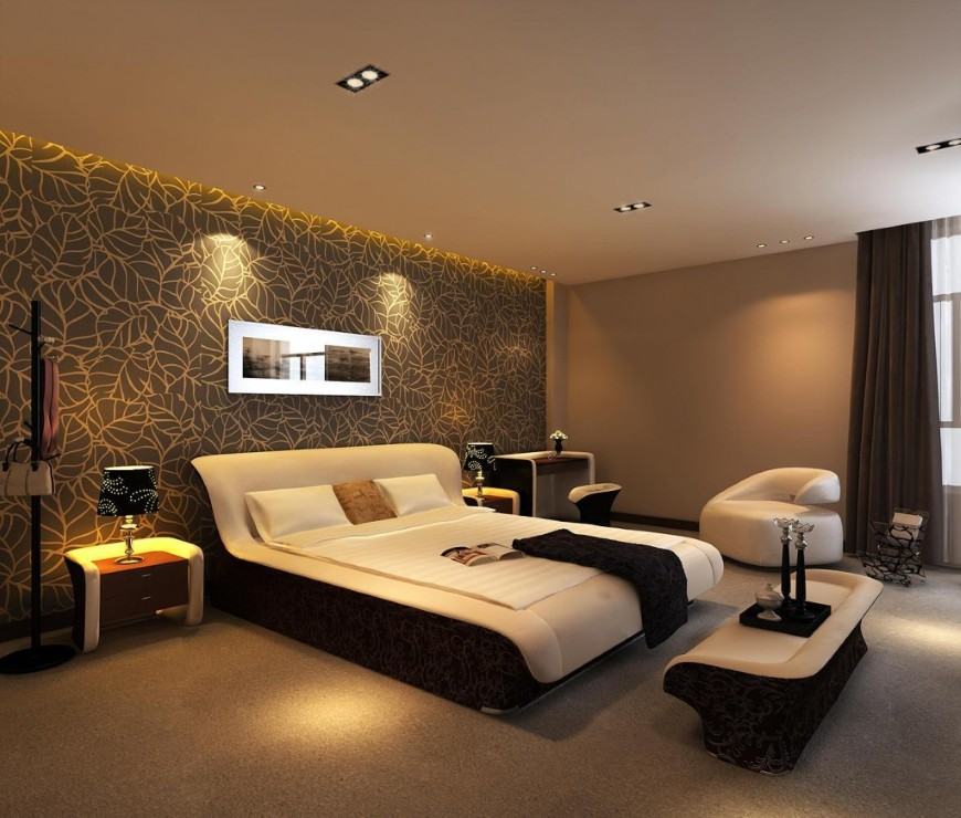 Luxurious Bedroom Design With Brown Wallpaper Accent And Creamy Painted Wall  And Black Curtain And White