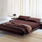 luxurious bedroom design with brown wooden worth platform bed and creamy rug and white curtain