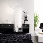 luxurious black contemporary rug design in white bathroom with black cabinet and indoor plants