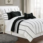 luxurious black white comforter sets king in stunning striped motif with 8 pieces and white nightstand with drawer underneath plus round grey rug