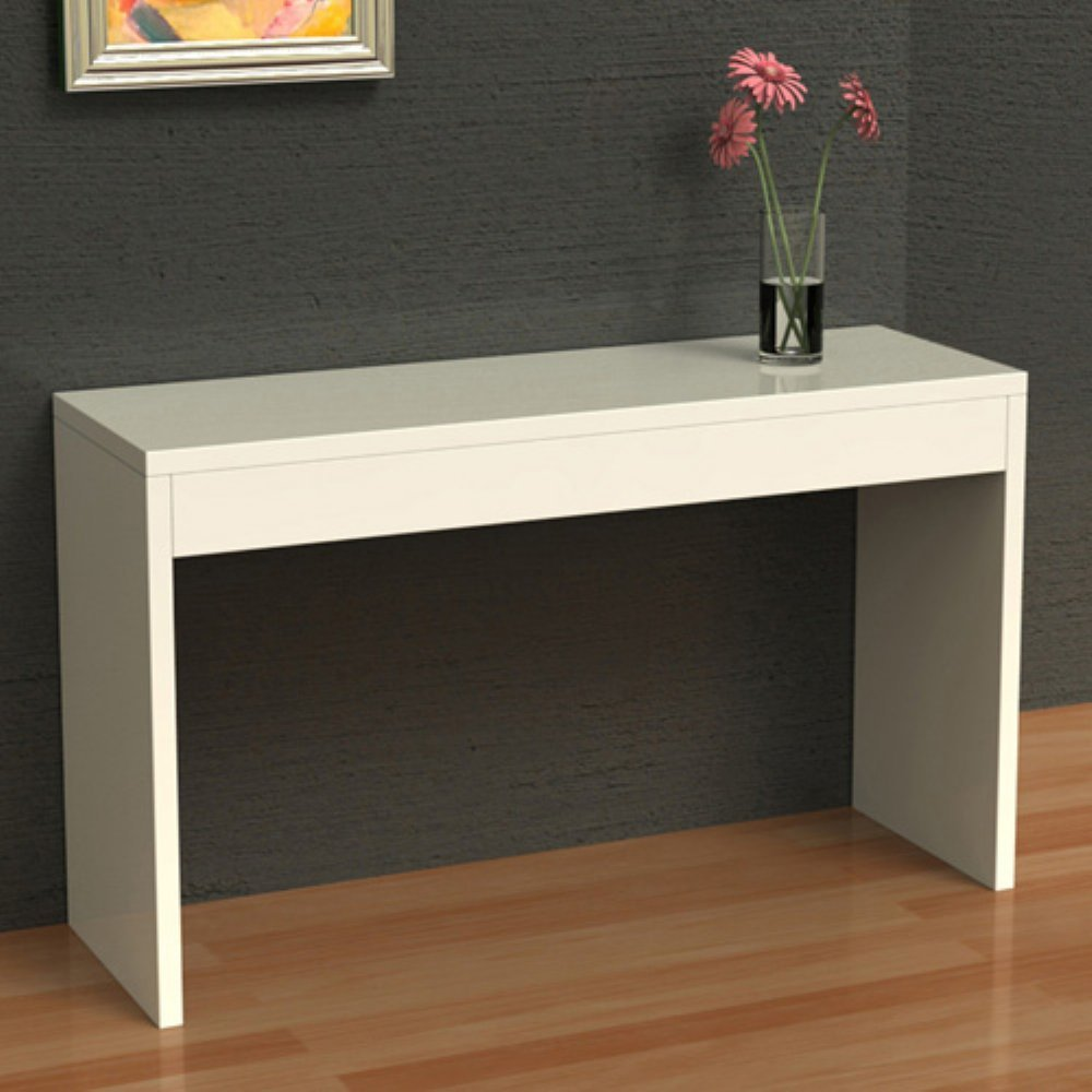 Luxurious Interior Design With Gray Siding And White Console Table Ikea  Idea With Small Pink Flower
