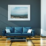 luxurious interior design with navy blue  ikea leather couch idea design on wooden laminated flooring with open plan