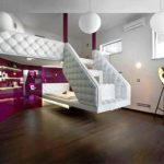 Luxurious Interior Design With Sophisticated Purple Glossy Wall Decor And Adorable White Upholster Railing And Wooden Floor