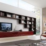 luxurious interior design with unique bookshelves and red ergonomic reclining chair and zebra area rug and red console tv