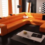 luxurious orange sofa idea with long minimalist design with storage with black accent and white small coffee table