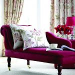 luxurious purple comfy chair for bedroom design with patterned white cushions and chaise and purple shade table lamp