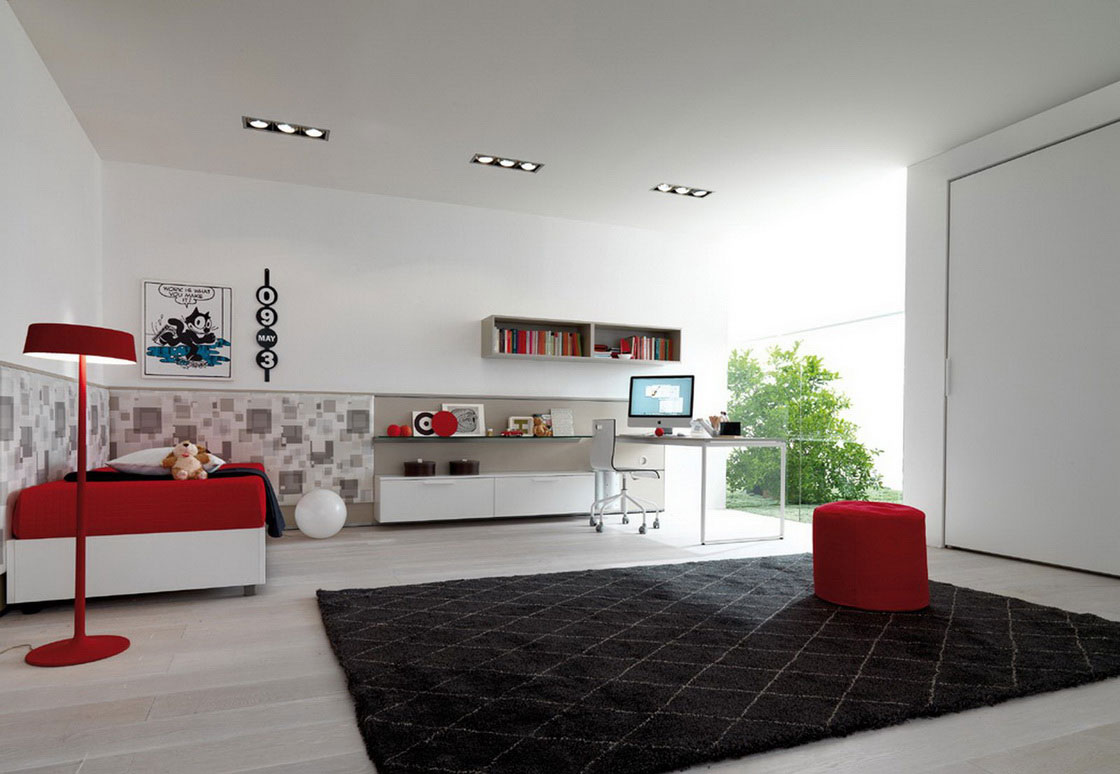 Luxurious Red And White Simple Interior Design With Bedding Black Area Rug Floating