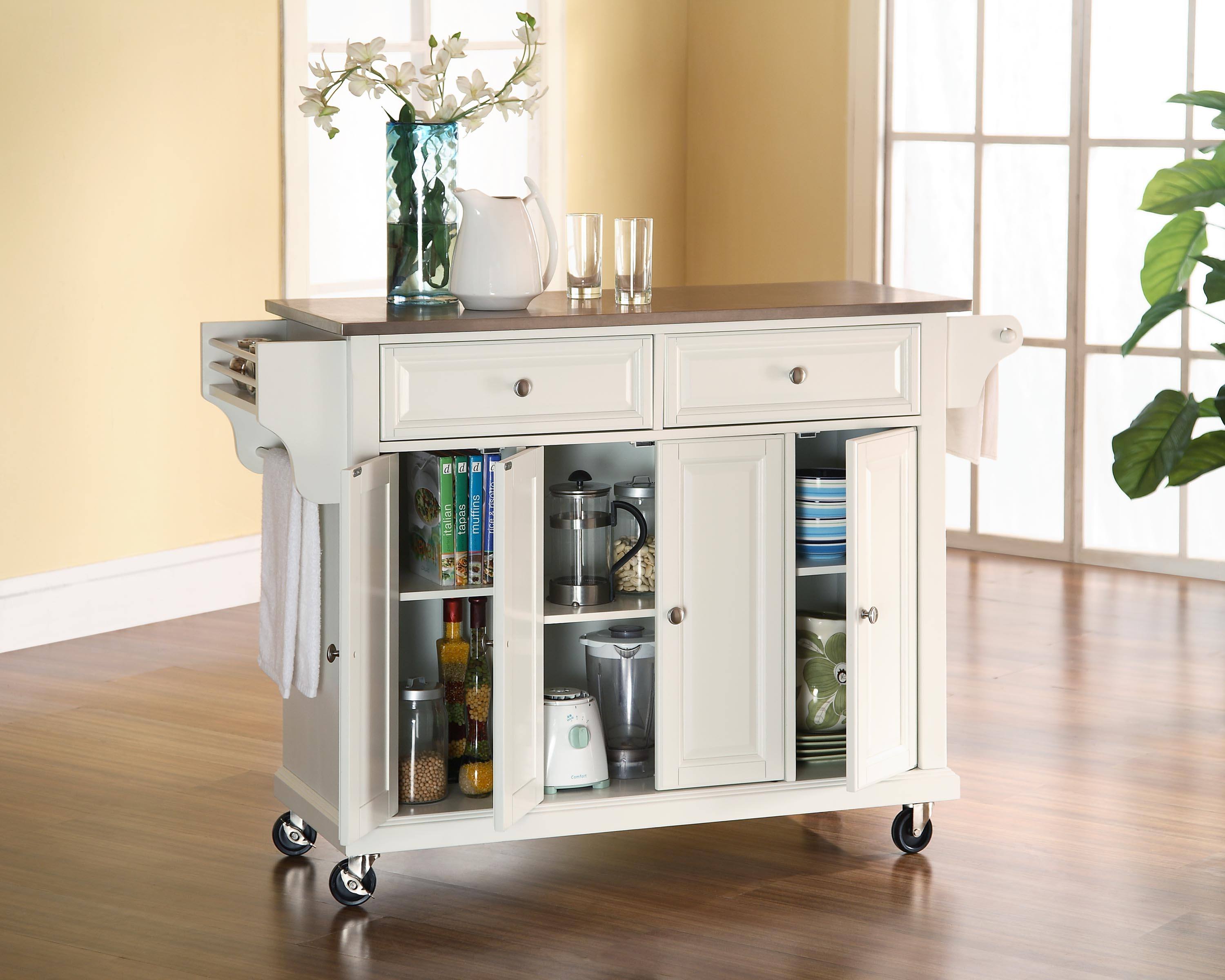 Luxurious White Kitchen Cart With Wheels Ida With Black Marble Top And  Slaped Storage Idea