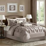 magnificent california king bed comforter sets in gray and white scheme plus modern rug and round end bed table plus wall decorative oraments