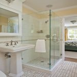 master shower ideas for master bathroom with glass walk in shower and single ceramic sink with wall mounted storage and adorable bathroom flooring ideas