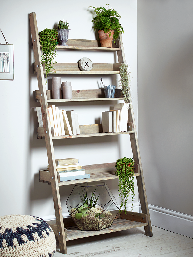 outstanding storage ideas with a ladder shelving unit homesfeed rh homesfeed com Ladder Style Shelving Unit storage ladder shelves for bathroom