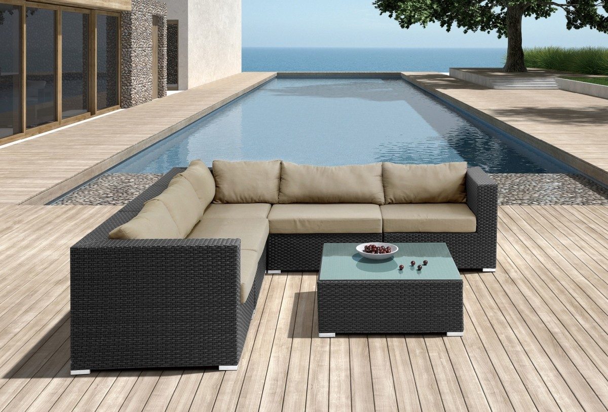 Microfiber Sectional Sofa Clearance With Soft Brown Upholstery Together  With Stunning Square Coffee Table For Outdoor