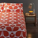 mid century modern bedding with modern motif bedside table with cool table lamp