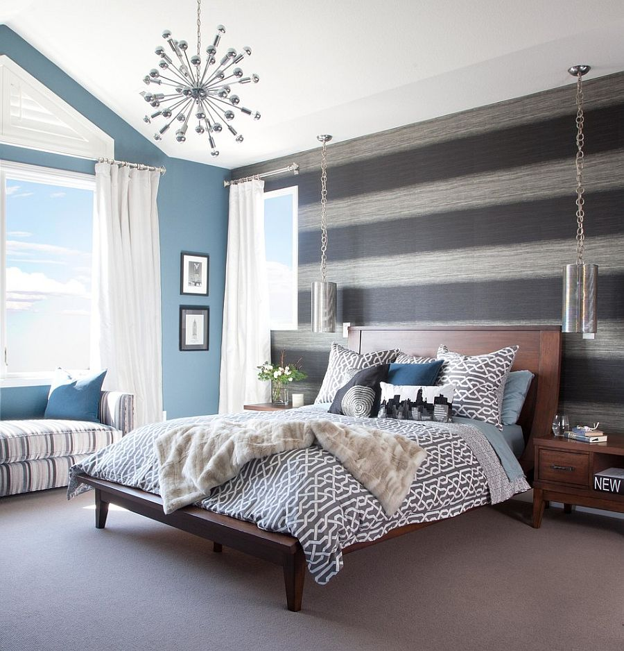 Bedroom with wallpaper accent wall that you must have for Blue wallpaper designs for bedroom