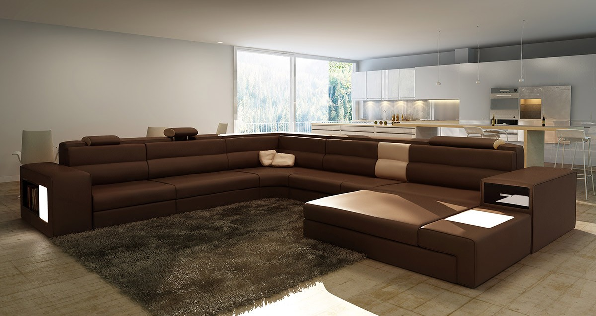 modern and minimalist interior design with long sectional sofa design with furry area rug and wooden : sectional sofa designs - Sectionals, Sofas & Couches