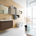 modern bathroom design with walk in bath and glas enclosure and open plan and wooden siding and floating wall unit