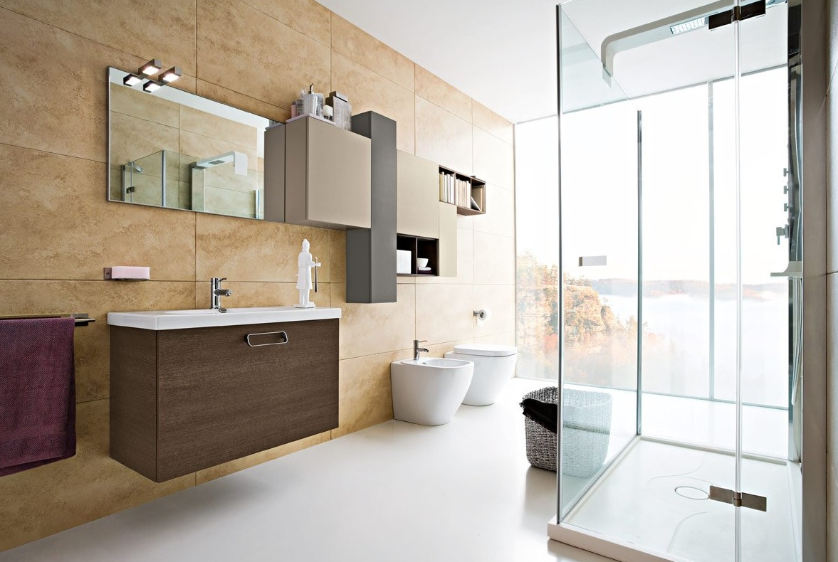 Good Bathroom Modern. Modern Bathroom Design With Walk In Bath And Glas  Enclosure Open Plan Wooden