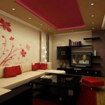 Modern Chinese Interior Of Living Room With Modern Sofa With Red Pillows And Red Patterned Wallpaper With Wooden Floor