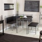 Modern Corner Bench Kitchen Design With Black Leather Cushion And Metal Structure Black Top Table With Metal Legs An Additional Black Leather Cushioned Bench Black Chalk Board Wall Decoration