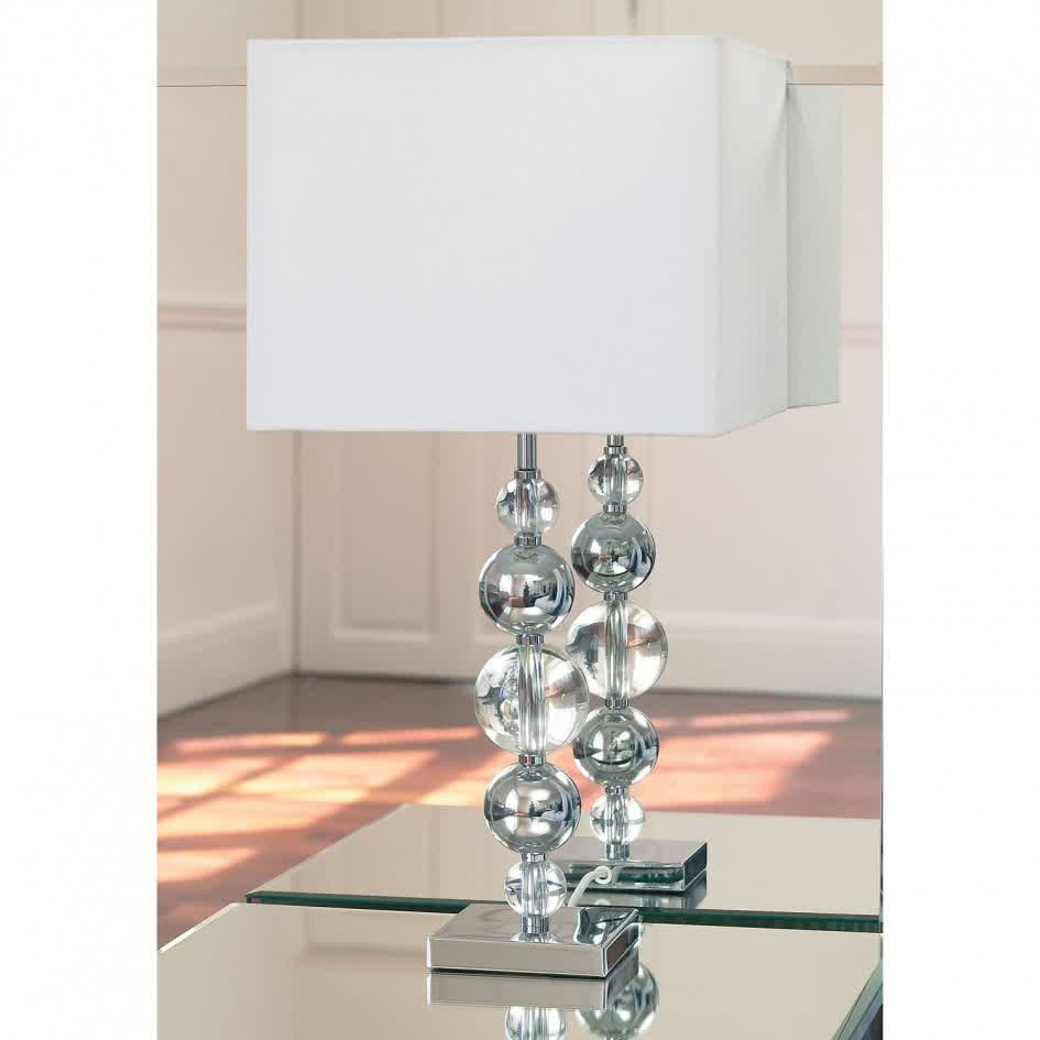 Modern Table Lamp With Crystal Clear Balls Stand And White Rectangle  Lampshade
