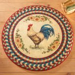 multicolored round rooster kitchen rugs with decorative texture for gorgeous kitchen ideas