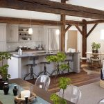 natural kitchen fashion trend 2015 with wooden exposed ceiling beam with indoor plants and wooden table and acrylic chairs
