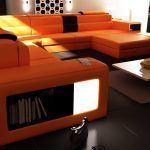 orange long sectional sofa made of leather in luxurious design together with white ceramic table and black ceramic tile for awesome looking living room