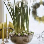 paper white bulbs with white green decorative Christmas balls and larger metal cup