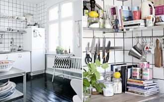 perfect interior design with small tile white wall and glass window and stainless steel pantry shelving system