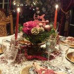 Playful Christmas Centerpiece Design With Glass Bowl Vas And Candelabrum And Glorious White Table Cloth And Christmas Ball