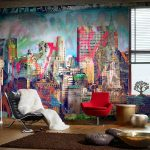 playful interior design with city paint on the wall with glass window and red stool and golden table and black leather ergonomic reclining chair