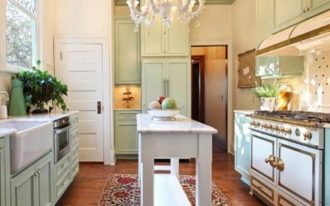 playful red patterned kitchen rug and mat design beneath white kitchen cart and white cabinet and chandelier